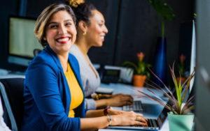 Smiling business client