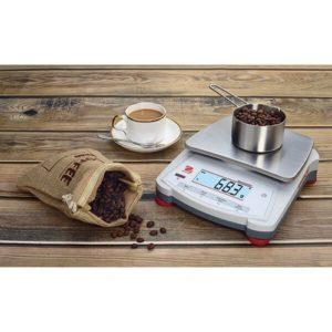 Ohaus Navigator weighing coffee beans