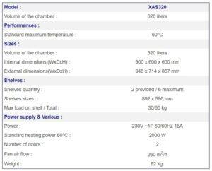 France Etuves XAS320 specs