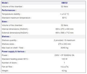 France Etuves Incubator xb032 specs