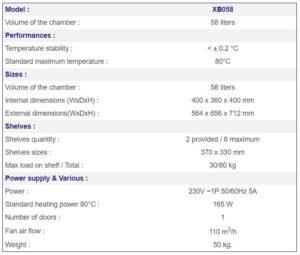 France Etuves Incubator xb058 Specs