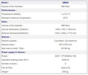 France Etuves Incubator xb980 Specs
