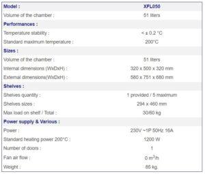 France Etuves XFL050 specs