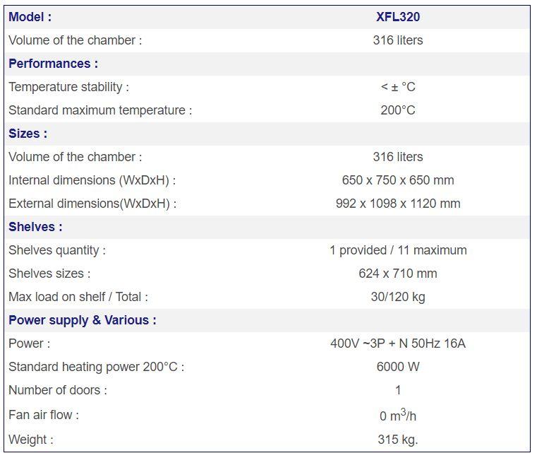 France Etuves XFL320 specs