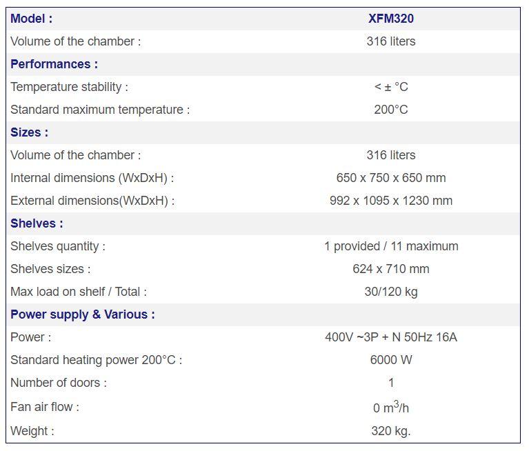 France Etuves XFM320 specs