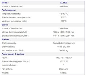 France Etuves XL1400 industrial oven specs