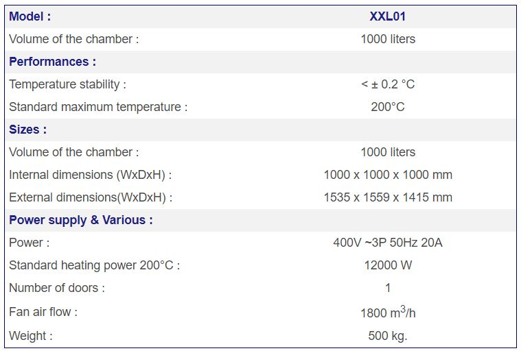 Large Industrial Oven XXL01 specs