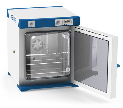 Microbiological incubator with door open