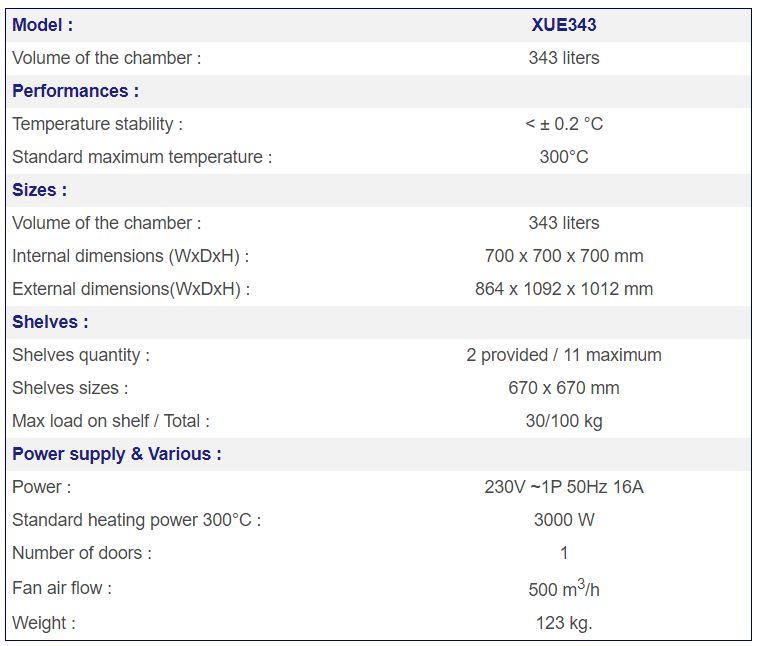 XUE343 Lab Oven Specs